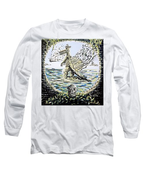 Long Sleeve T-Shirt featuring the painting The Machine by Ryan Demaree