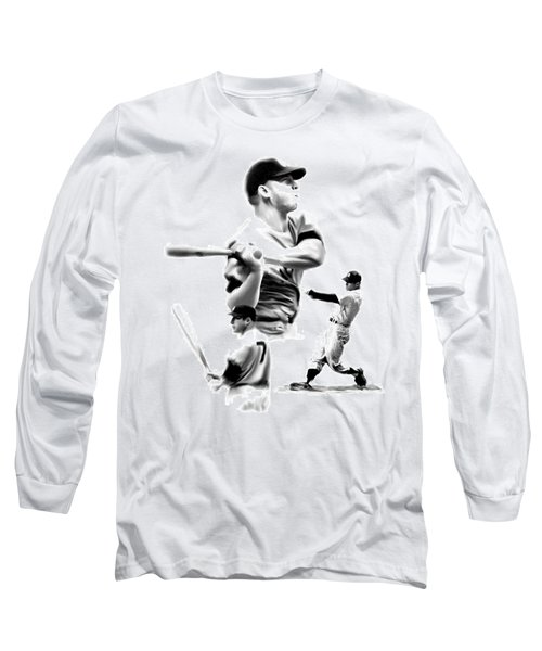 The Mick  Mickey Mantle Long Sleeve T-Shirt by Iconic Images Art Gallery David Pucciarelli