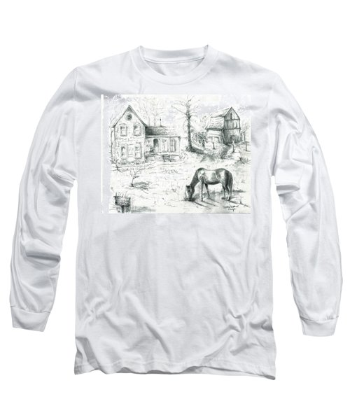 The Old Horse Farm Long Sleeve T-Shirt by Bernadette Krupa