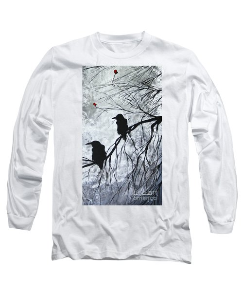 The Overseers 2 Of 2 Whimsical Crow Moon Heart Painting By Megan Duncanson Long Sleeve T-Shirt