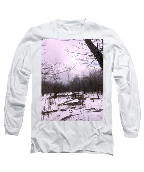 The Pink Winter Light On The Mountain Top Long Sleeve T-Shirt