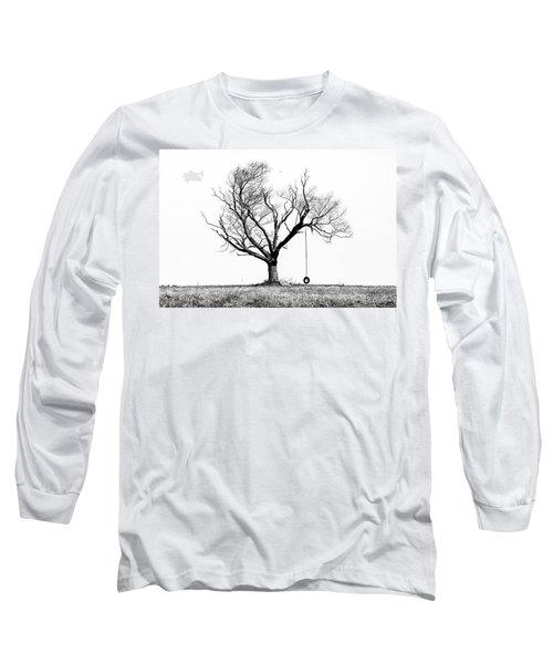 The Playmate - Old Tree And Tire Swing On An Open Field Long Sleeve T-Shirt