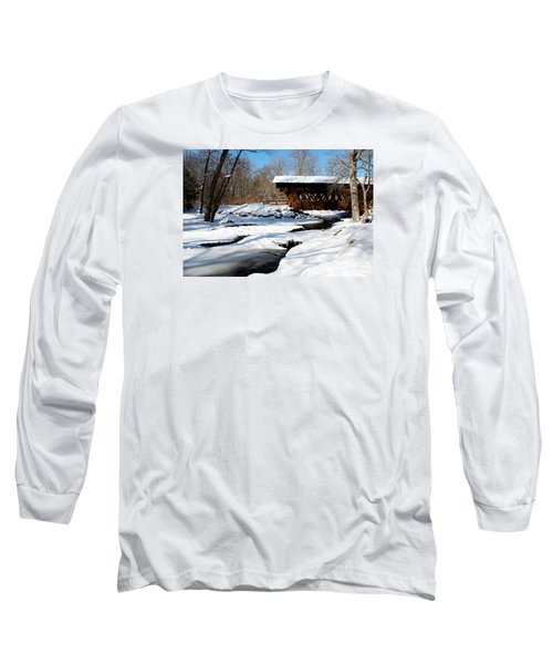 Long Sleeve T-Shirt featuring the photograph The River Flows Under The Springwater Covered Bridge by Janice Adomeit
