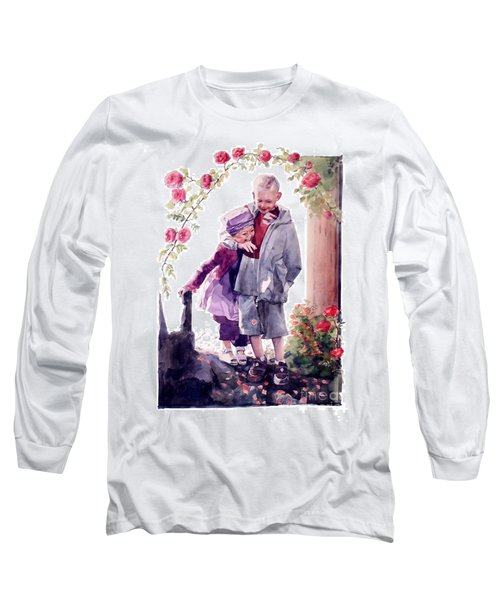 Watercolor Of A Boy And Girl In Their Secret Garden Long Sleeve T-Shirt