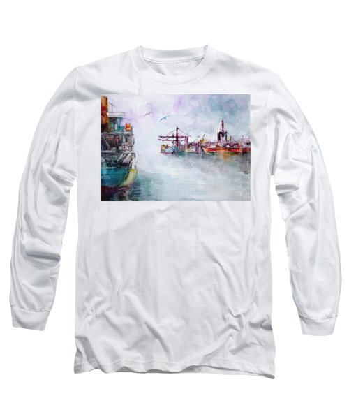 Long Sleeve T-Shirt featuring the painting The Ship At Harbor Entrance by Faruk Koksal