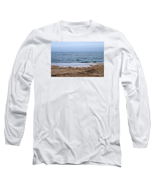The Splash Over On A Sandy Beach Long Sleeve T-Shirt by Eunice Miller