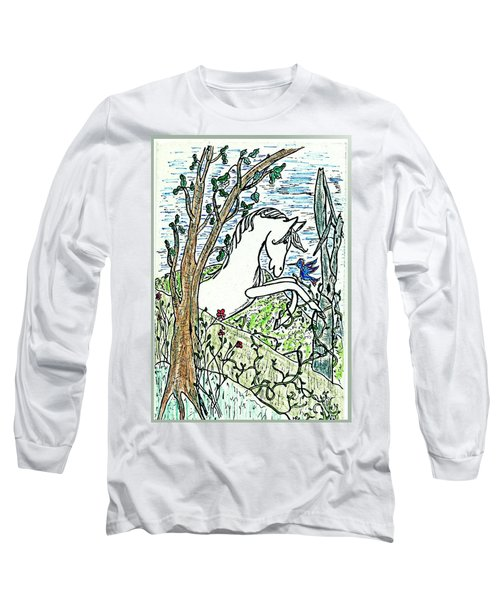 The White Stallion Is Chatting With His Friends Long Sleeve T-Shirt by Patricia Keller
