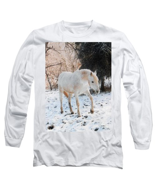 The White Stallion's Winter Walk Long Sleeve T-Shirt by Patricia Keller