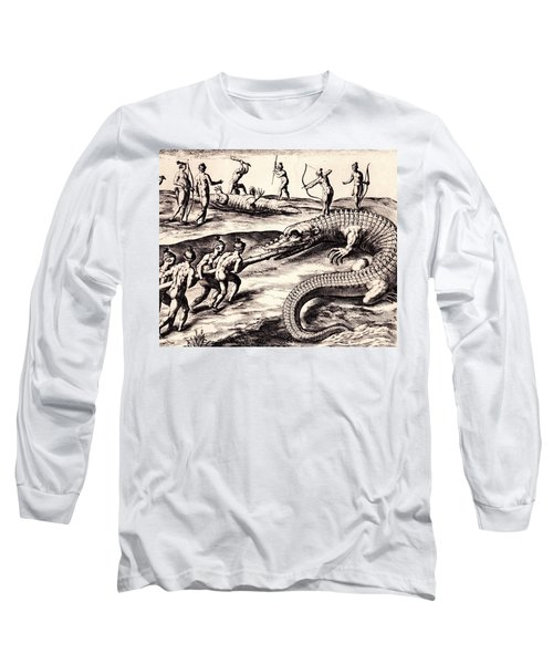 Long Sleeve T-Shirt featuring the drawing Their Manner Of Killynge Crocodrilles by Peter Gumaer Ogden