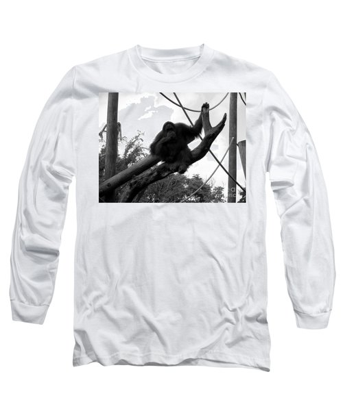 Long Sleeve T-Shirt featuring the photograph Thinking Of You Black And White by Joseph Baril