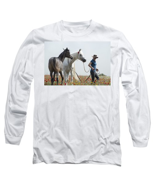 Long Sleeve T-Shirt featuring the photograph Three At The Poppies' Field... 1 by Dubi Roman
