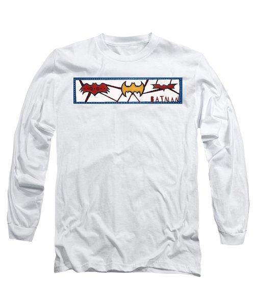 Long Sleeve T-Shirt featuring the sculpture Three Bat Signals by Robert Margetts