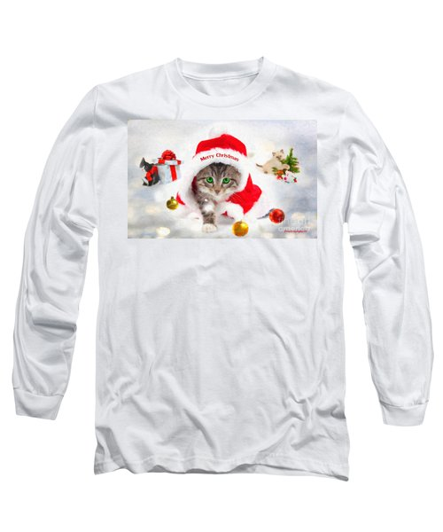 Three Christmas Kittens Long Sleeve T-Shirt