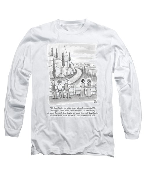 Three Frontiersmen And Two Women Watch A Mountain Long Sleeve T-Shirt