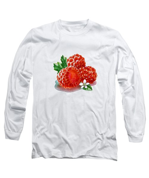 Three Happy Raspberries Long Sleeve T-Shirt