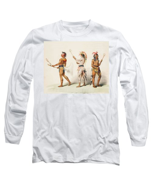 Three Indians Playing Lacrosse Long Sleeve T-Shirt by Unknown