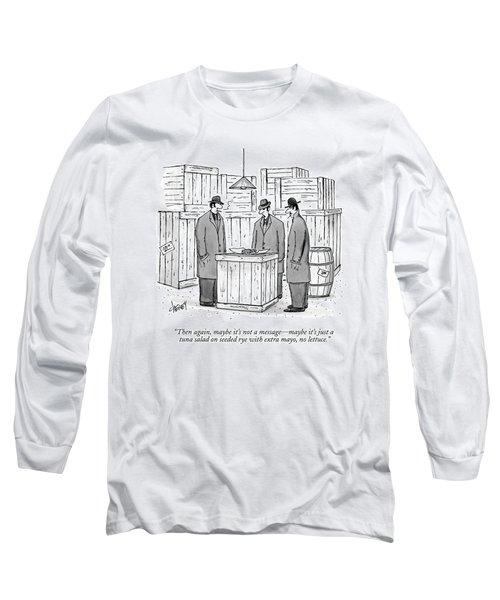 Three Mafiosi/gangsters Stand Around An Open Long Sleeve T-Shirt
