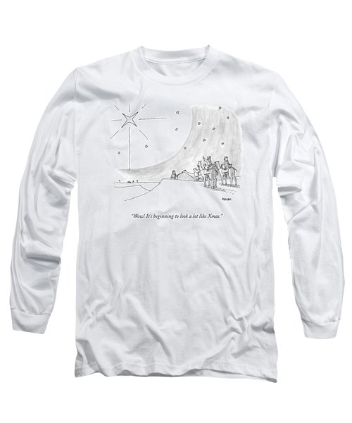 Three Men On Camels Look At The Night Sky.  One Long Sleeve T-Shirt