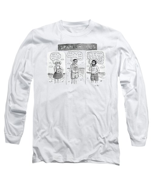 Three Panels Of People In Swimsuits On The Beach Long Sleeve T-Shirt