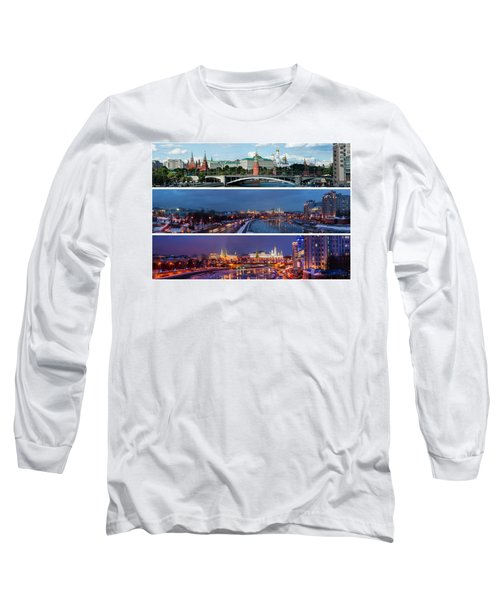 Three Panoramas Of Moscow Kremlin - Featured 3 Long Sleeve T-Shirt