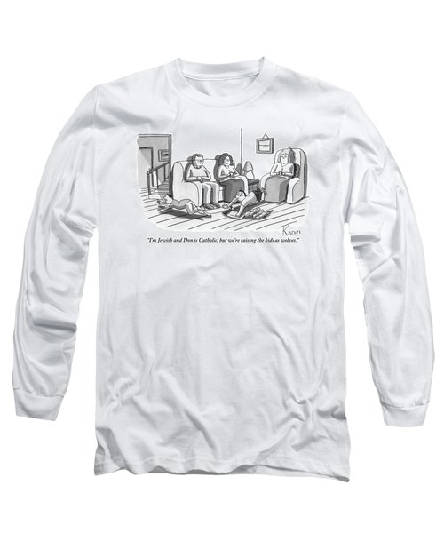 Three People Are Sitting In A Living Room Long Sleeve T-Shirt