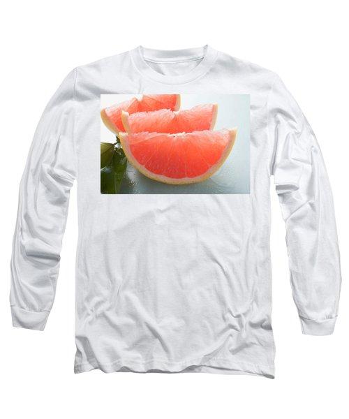 Three Pink Grapefruit Wedges, Leaves Beside Them Long Sleeve T-Shirt
