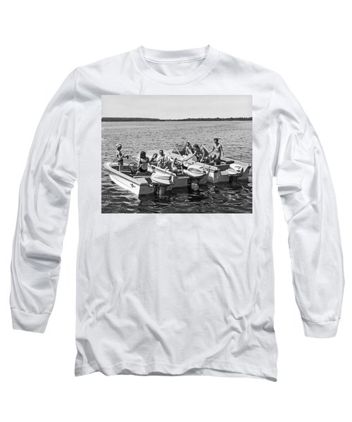 Three Power Boats Gather Together For Summer Boating Fun Long Sleeve T-Shirt