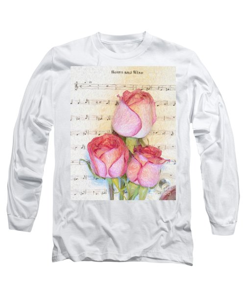 Three Red Roses And Wine 2 Long Sleeve T-Shirt