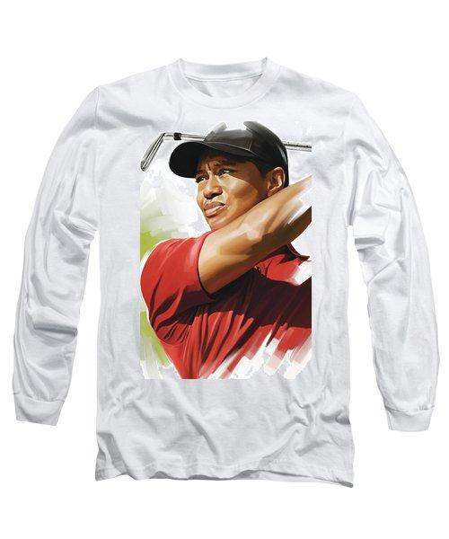 Tiger Woods Artwork Long Sleeve T-Shirt by Sheraz A