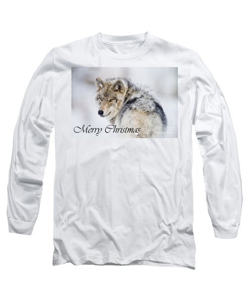 Timber Wolf Christmas Card 2 Long Sleeve T-Shirt