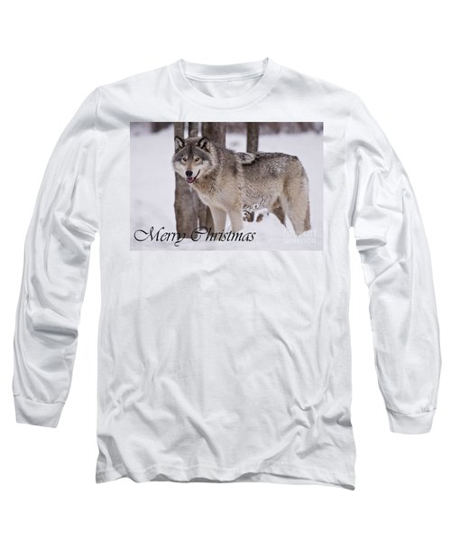 Timber Wolf Christmas Card English 3 Long Sleeve T-Shirt