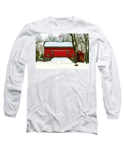 Long Sleeve T-Shirt featuring the photograph Tinicum Barn In Winter II by Debra Fedchin
