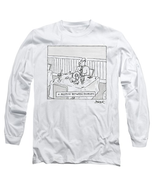Title: A Respite Between Courses. A Man Sits Long Sleeve T-Shirt