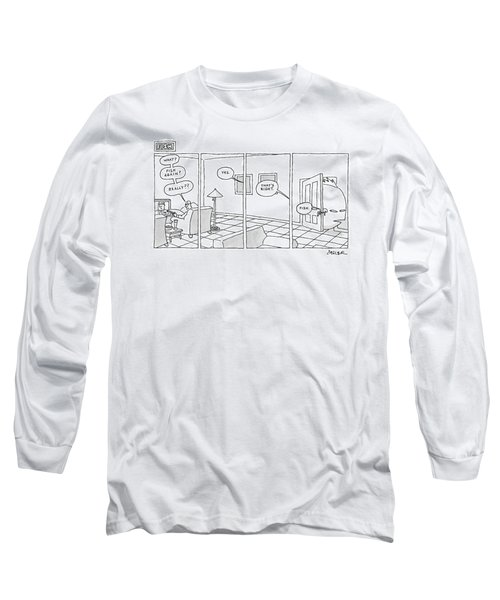 Title: Fish. Man Sits Watching Tv And Says Long Sleeve T-Shirt
