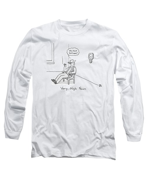 Title: Very High Noon. A Cowboy Looking Long Sleeve T-Shirt