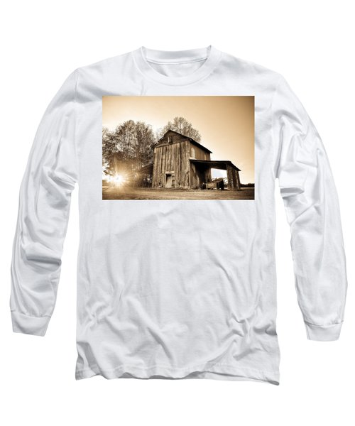 Tobacco Barn In Sunset Long Sleeve T-Shirt