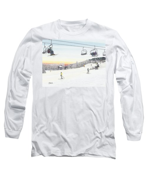 Long Sleeve T-Shirt featuring the painting Top Of The Mountain At Seven Springs by Albert Puskaric