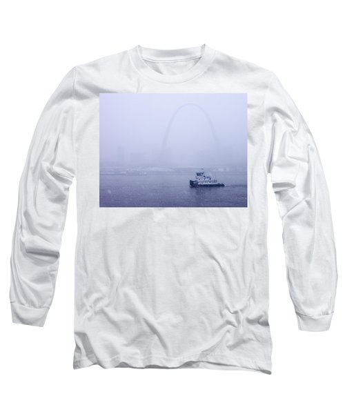 Towboat Working In The Snow St Louis Long Sleeve T-Shirt by Garry McMichael