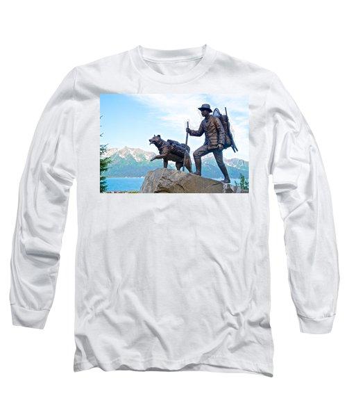 Trail Blazers Sculpture For 2012 Iditarod Beginning At Mile 0 In Seward-ak Long Sleeve T-Shirt