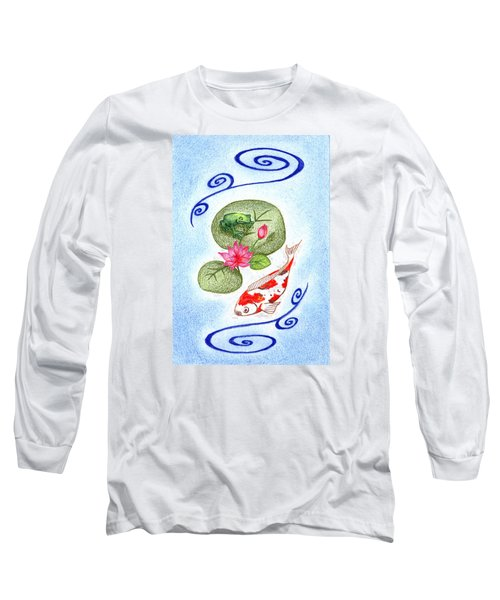 Long Sleeve T-Shirt featuring the drawing Tranquility by Keiko Katsuta