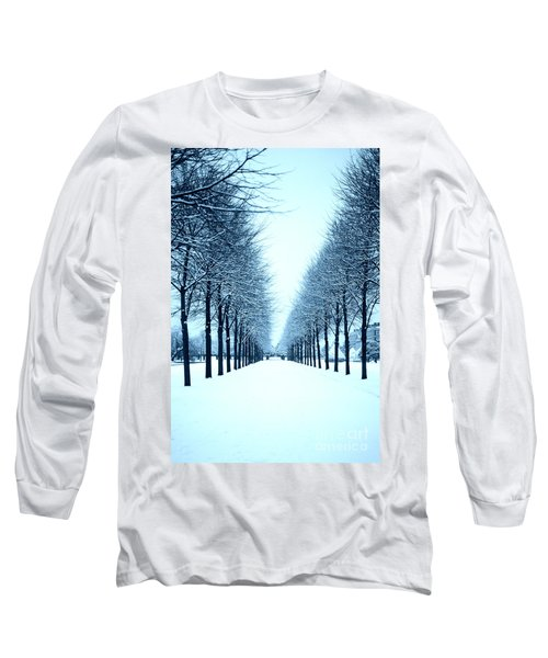 Tree Avenue In Snow Long Sleeve T-Shirt by Lana Enderle