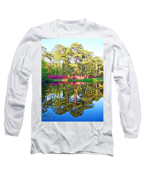 Tree Reflections And Pink Flowers By The Blue Water By Jan Marvin Studios Long Sleeve T-Shirt