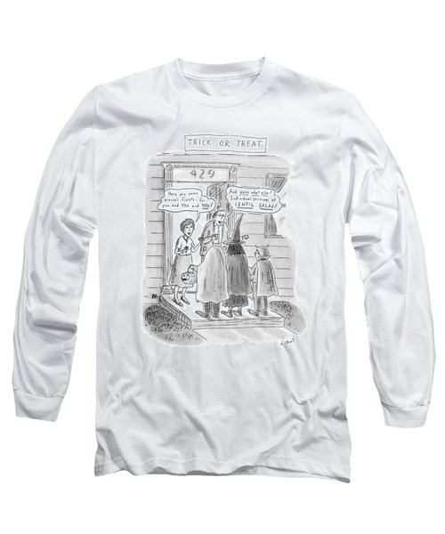 Trick Or Treat 'here Are Some Broccoli Florets - Long Sleeve T-Shirt by Roz Chast