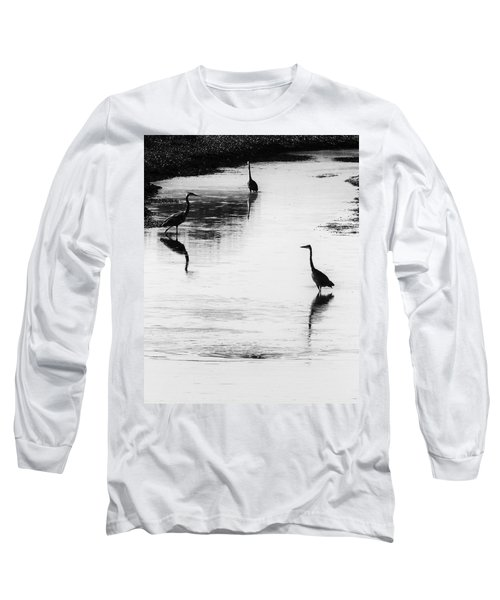 Trilogy - Black And White Long Sleeve T-Shirt by Belinda Greb