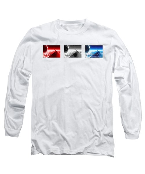 Long Sleeve T-Shirt featuring the photograph Red White Black An White Blue An White Jet Pop Art Planes. by R Muirhead Art
