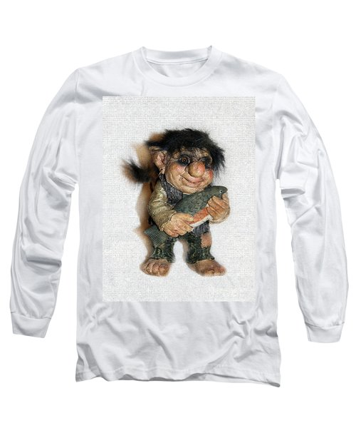 Long Sleeve T-Shirt featuring the sculpture Troll Fisherman by Sergey Lukashin