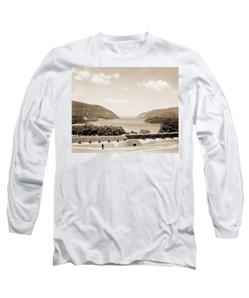 Trophy Point North Fro West Point In Sepia Tone Long Sleeve T-Shirt