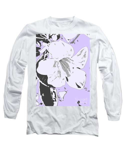 Tropical Floral Violet Black Long Sleeve T-Shirt