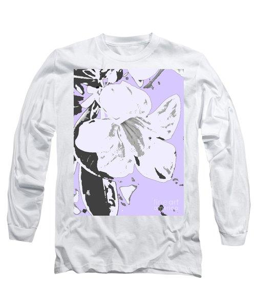 Tropical Floral Violet Black Long Sleeve T-Shirt