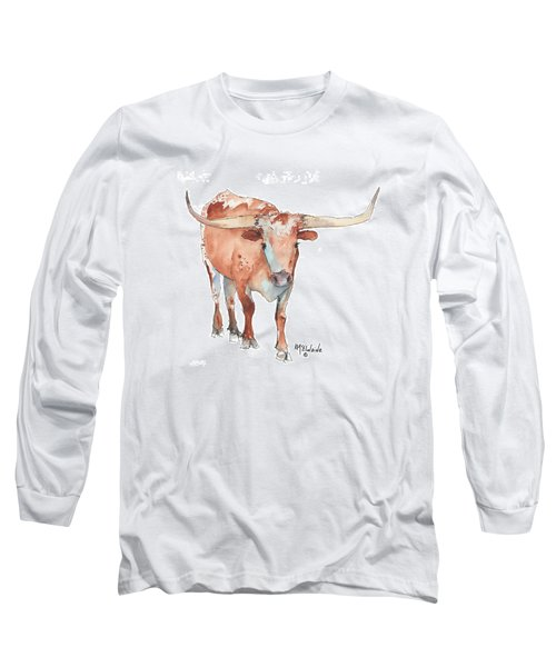 Square Walking Tall Texas Longhorn Watercolor Painting By Kmcelwaine Long Sleeve T-Shirt by Kathleen McElwaine